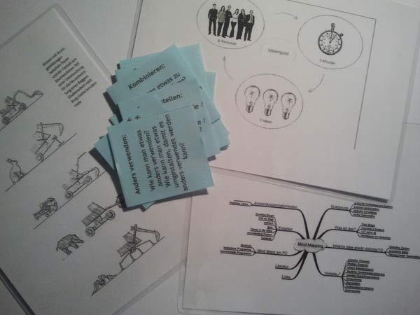 Infokarten Kreativtechniken und Fragekärtchen zur Ideenfindung
