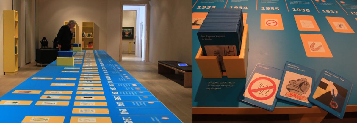 """Der mit Schülern entwickelte """"interaktive"""" Zeitstrahl in der Ausstellung"""
